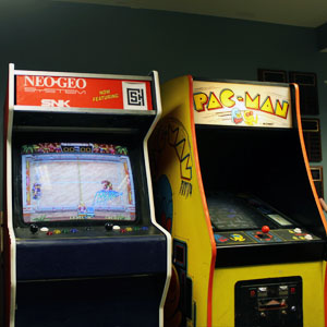 Two custom arcade machines in the CSH library