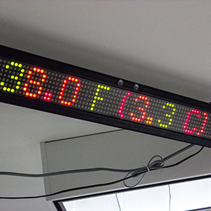 An automated display in our User Center displaying the weather, high scores, and more