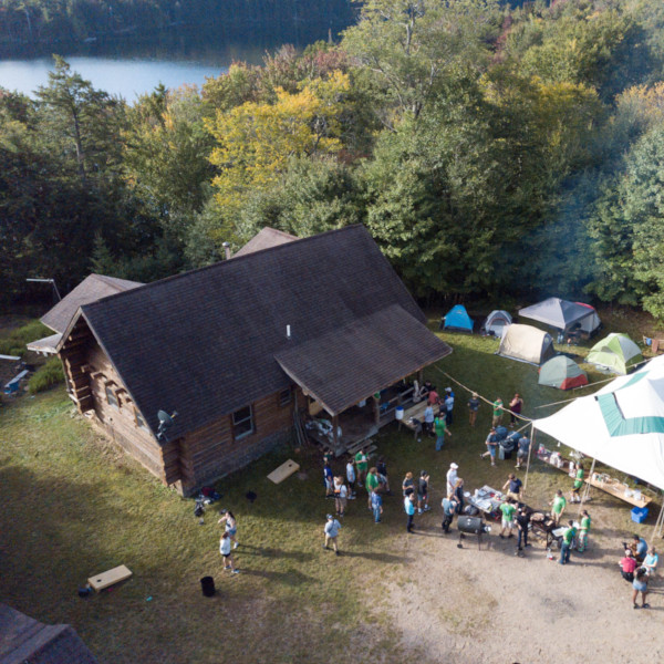 An aerial shot of the cabin we camp at for Fall Camping